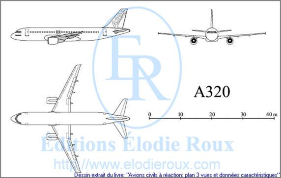 Copyright: Elodie Roux/A320 3-view drawing/plan 3 vues