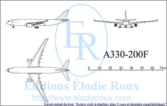 Copyright: Elodie Roux/A330-200F 3-view drawing/plan 3 vues