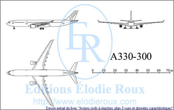 Copyright: Elodie Roux/A330-300 3-view drawing/plan 3 vues