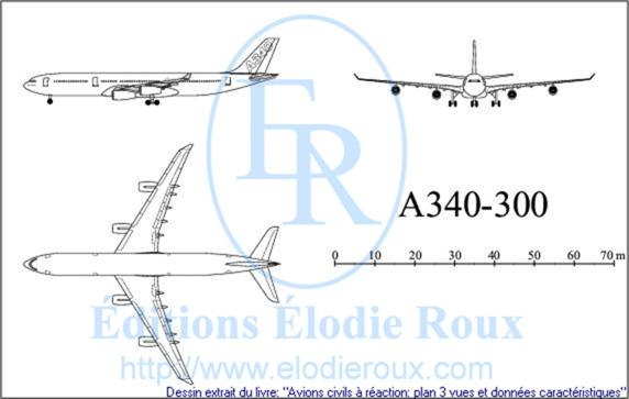 Copyright: Elodie Roux/A340-300 3-view drawing/plan 3 vues