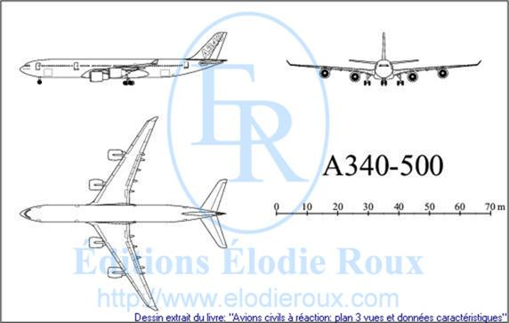 Copyright: Elodie Roux/A340-500 3-view drawing/plan 3 vues