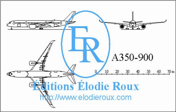 Copyright: Elodie Roux/A350-900 3-view drawing/plan 3 vues