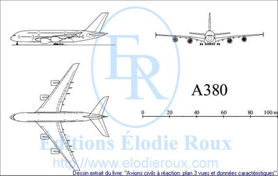 Copyright: Elodie Roux/A380 3-view drawing/plan 3 vues
