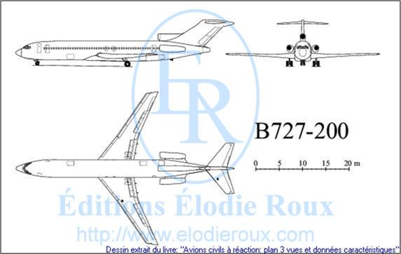 Copyright: Elodie Roux/B727-200 3-view drawing/plan 3 vues