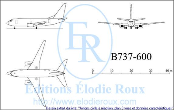 Copyright: Elodie Roux/B737-600 3-view drawing/plan 3 vues