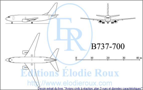 Copyright: Elodie Roux/B737-700 3-view drawing/plan 3 vues