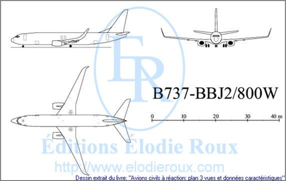 Copyright: Elodie Roux/B737-800W-BBJ2 3-view drawing/plan 3 vues