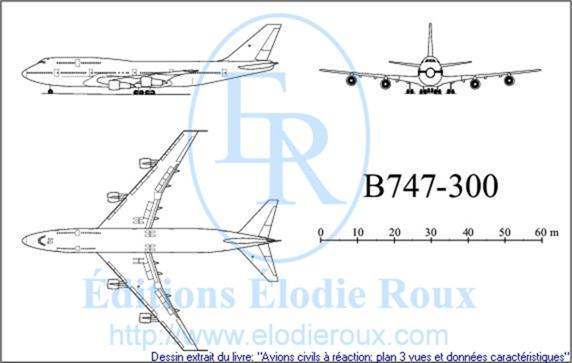 Copyright: Elodie Roux/B747-300 3-view drawing/plan 3 vues