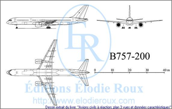 Copyright: Elodie Roux/B757-200 3-view drawing/plan 3 vues