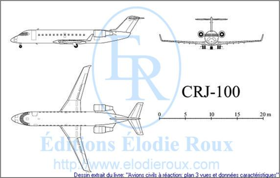 Copyright: Elodie Roux/CRJ100 3-view drawing/plan 3 vues