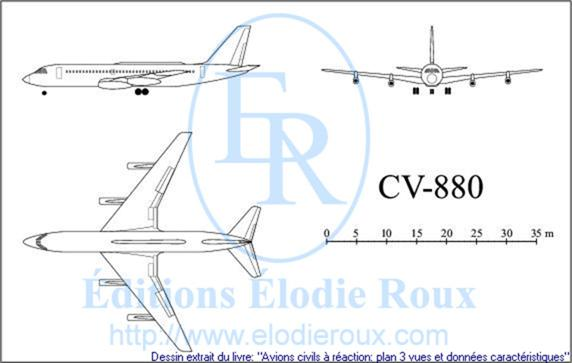 Copyright: Elodie Roux/CV-880 3-view drawing/plan 3 vues