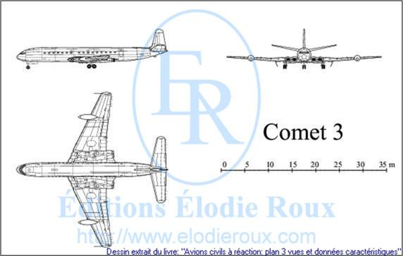 Copyright: Elodie Roux/Comet3 3-view drawing/plan 3 vues
