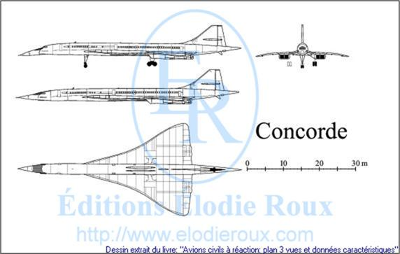Copyright: Elodie Roux/Concorde 3-view drawing/plan 3 vues