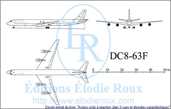 Copyright: Elodie Roux/DC8-63F 3-view drawing/plan 3 vues