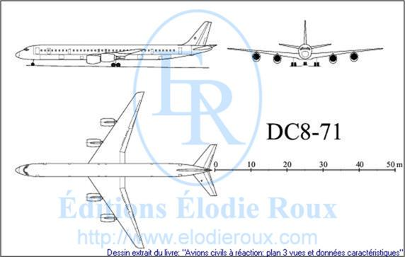Copyright: Elodie Roux/DC8-71 3-view drawing/plan 3 vues