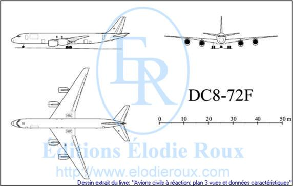 Copyright: Elodie Roux/DC8-72F 3-view drawing/plan 3 vues