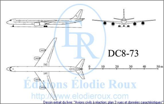 Copyright: Elodie Roux/DC8-73 3-view drawing/plan 3 vues