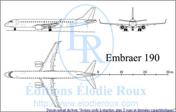 Copyright: Elodie Roux/EMBRAER190 3-view drawing/plan 3 vues