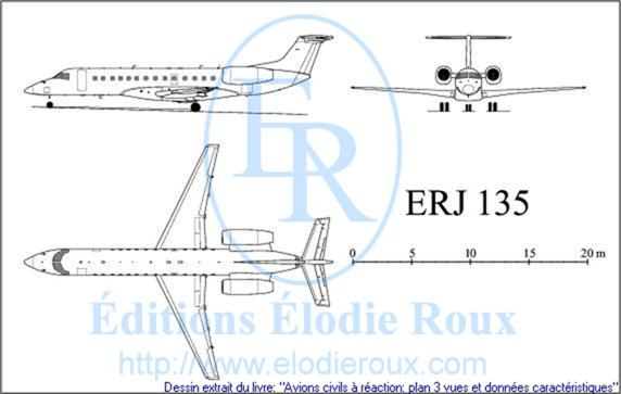Copyright: Elodie Roux/ERJ135 3-view drawing/plan 3 vues