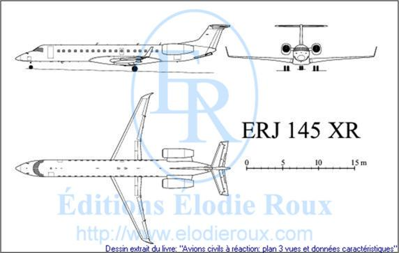 Copyright: Elodie Roux/ERJ145XR 3-view drawing/plan 3 vues