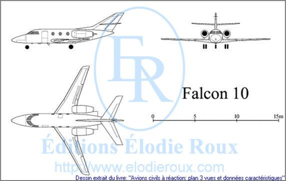 Copyright: Elodie Roux/Falcon10 3-view drawing/plan 3 vues