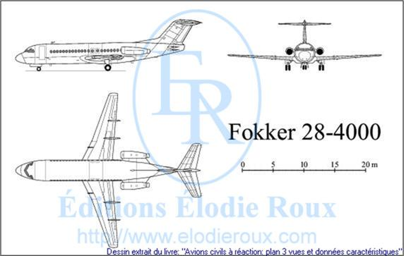 Copyright: Elodie Roux/Fokker28-4000 3-view drawing/plan 3 vues