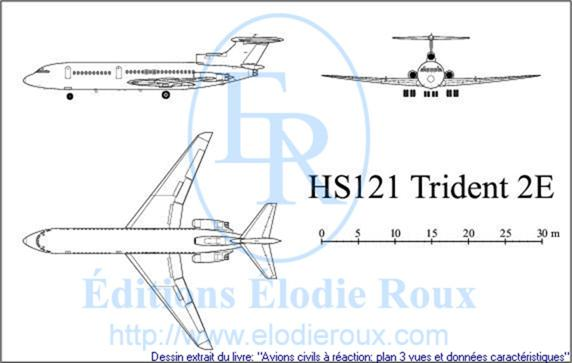 Copyright: Elodie Roux/HS121Trident2E 3-view drawing/plan 3 vues