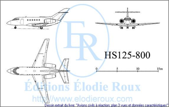 Copyright: Elodie Roux/HS125-800 3-view drawing/plan 3 vues