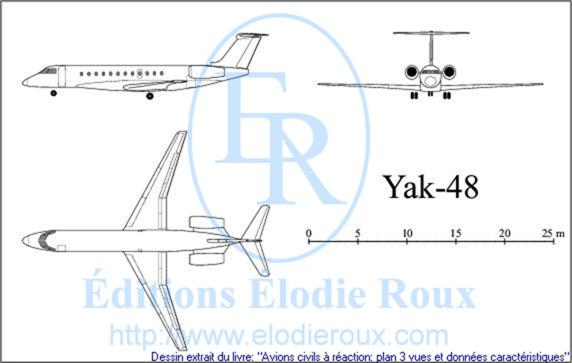 Copyright: Elodie Roux/Yak-48 3-view drawing/plan 3 vues